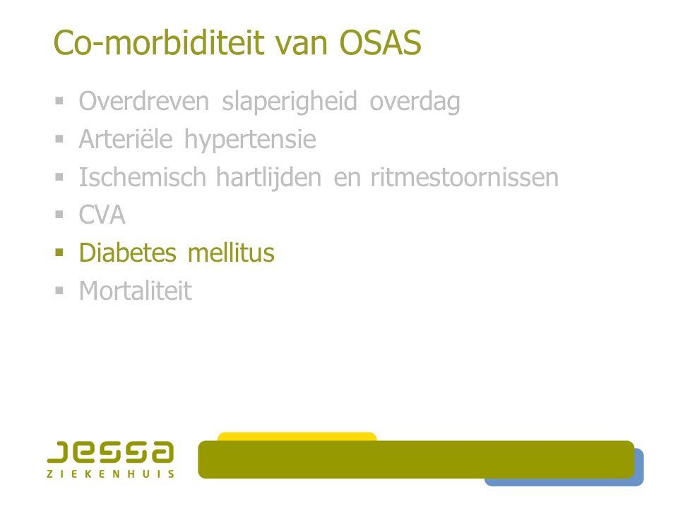 Co-morbiditeit van OSAS  Overdreven slaperigheid overdag  Arteriële hypertensie  Ischemisch hartlijden en ritmestoornissen  CVA  Diabetes mellitus  Mortaliteit