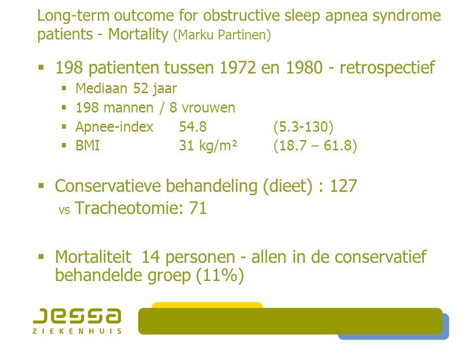 Long-term outcome for obstructive sleep apnea syndrome patients - Mortality (Marku Partinen)  198 patienten tussen 1972 en 1980 - retrospectief  Mediaan 52 jaar  198 mannen / 8 vrouwen  Apnee-index 54.8 (5.3-130)  BMI 31 kg/m² (18.7 – 61.8)  Conservatieve behandeling (dieet) : 127 vs Tracheotomie: 71  Mortaliteit 14 personen - allen in de conservatief behandelde groep (11%)
