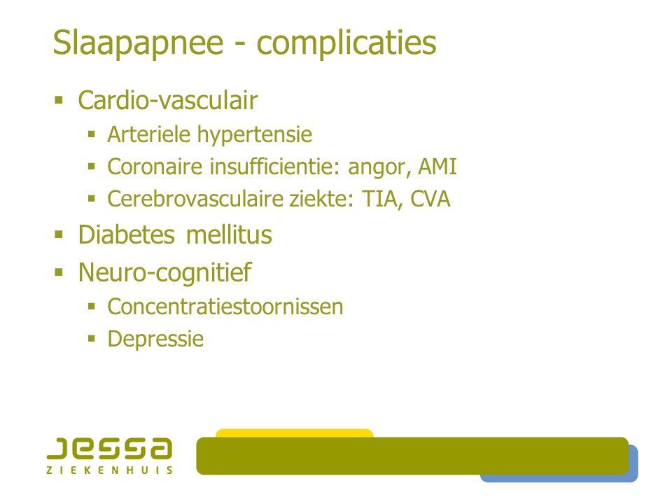 Slaapapnee - complicaties  Cardio-vasculair  Arteriele hypertensie  Coronaire insufficientie: angor, AMI  Cerebrovasculaire ziekte: TIA, CVA  Diabetes mellitus  Neuro-cognitief  Concentratiestoornissen  Depressie