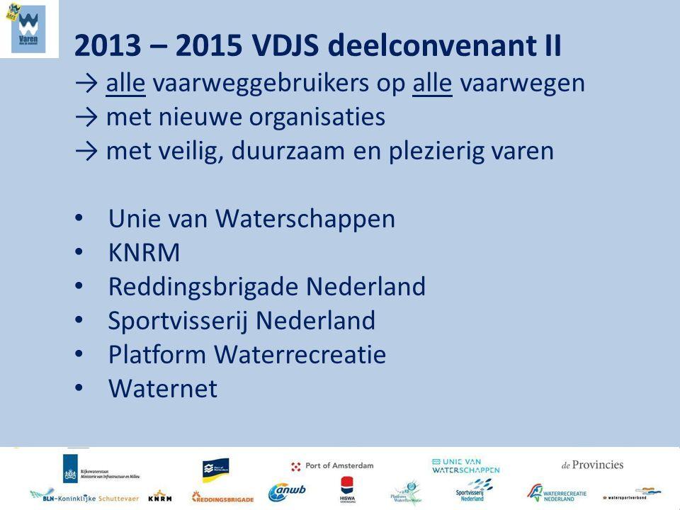 2013 – 2015 VDJS deelconvenant II → alle vaarweggebruikers op alle vaarwegen → met nieuwe organisaties → met veilig, duurzaam en plezierig varen Unie