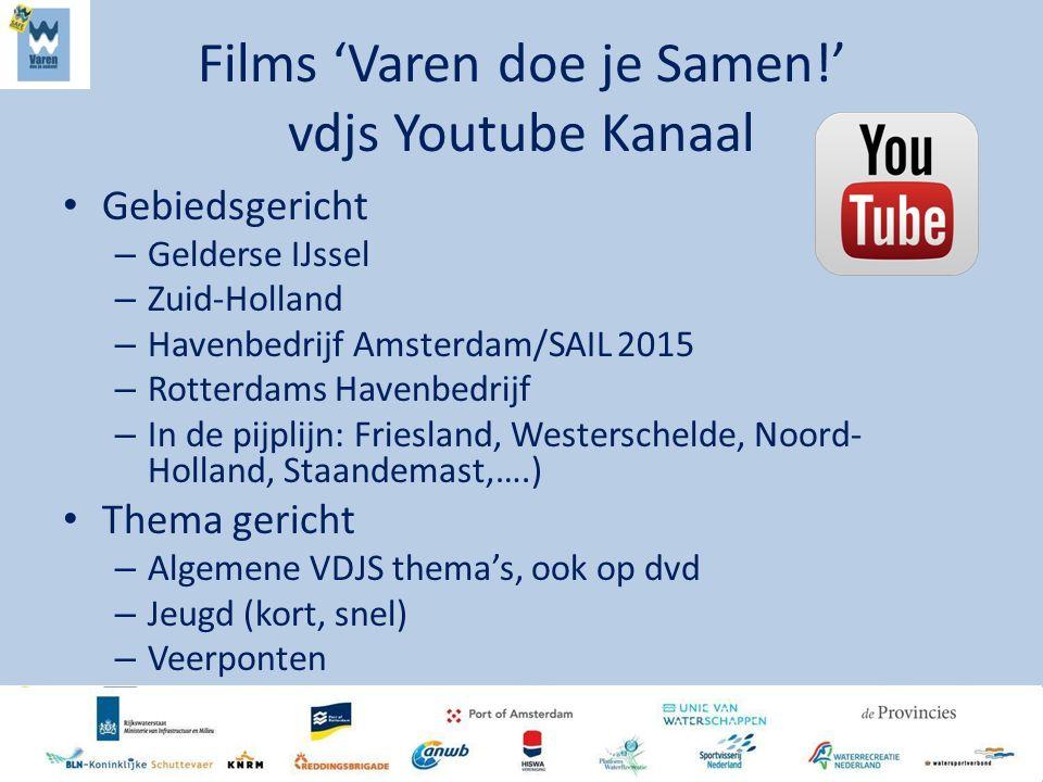 Films 'Varen doe je Samen!' vdjs Youtube Kanaal Gebiedsgericht – Gelderse IJssel – Zuid-Holland – Havenbedrijf Amsterdam/SAIL 2015 – Rotterdams Havenb