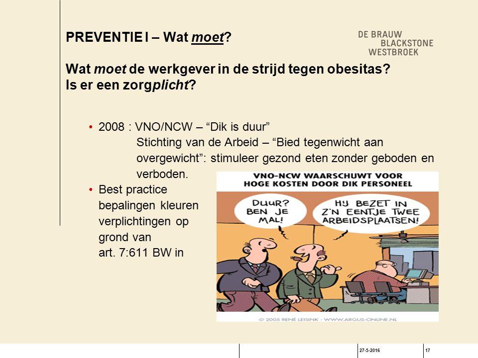 27-5-201617 PREVENTIE I – Wat moet. Wat moet de werkgever in de strijd tegen obesitas.