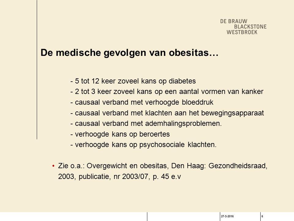 27-5-20166 De medische gevolgen van obesitas… - 5 tot 12 keer zoveel kans op diabetes - 2 tot 3 keer zoveel kans op een aantal vormen van kanker - causaal verband met verhoogde bloeddruk - causaal verband met klachten aan het bewegingsapparaat - causaal verband met ademhalingsproblemen.