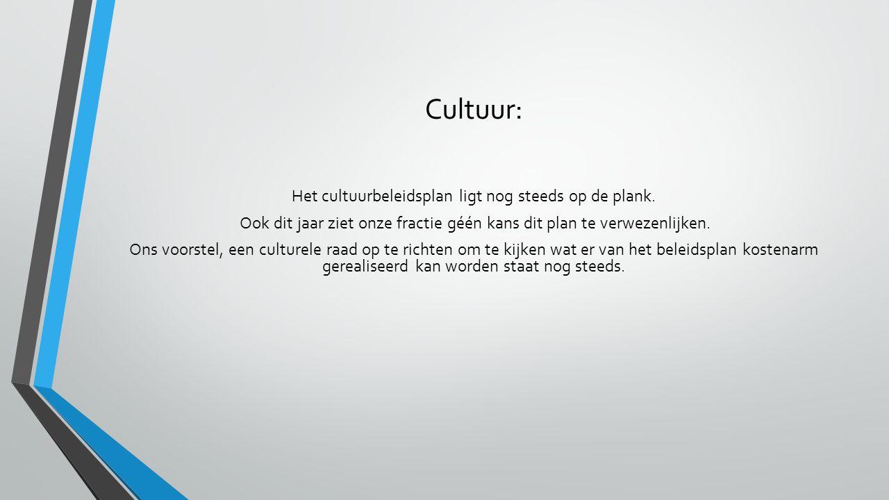 Cultuur: Het cultuurbeleidsplan ligt nog steeds op de plank. Ook dit jaar ziet onze fractie géén kans dit plan te verwezenlijken. Ons voorstel, een cu