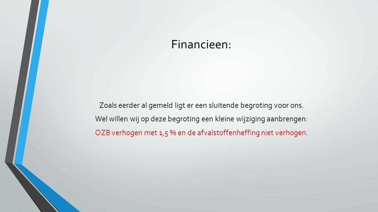 Financieen: Zoals eerder al gemeld ligt er een sluitende begroting voor ons. Wel willen wij op deze begroting een kleine wijziging aanbrengen: OZB ver