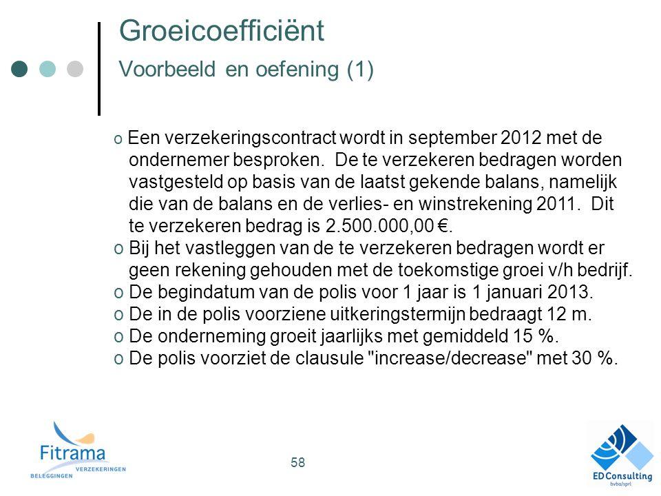 Groeicoefficiënt Voorbeeld en oefening (1) o Een verzekeringscontract wordt in september 2012 met de ondernemer besproken.