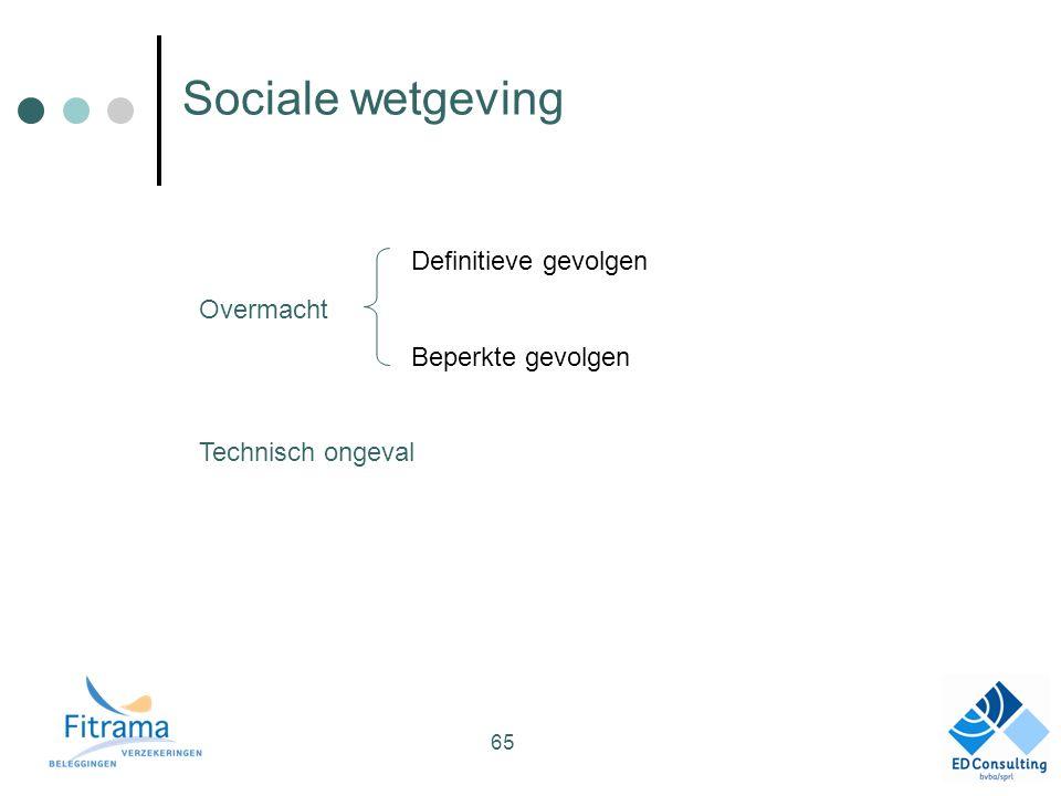 Sociale wetgeving Definitieve gevolgen Overmacht Beperkte gevolgen Technisch ongeval 65
