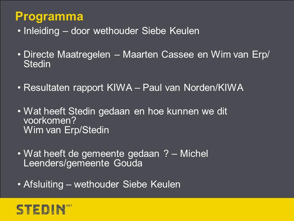 Programma Inleiding – door wethouder Siebe Keulen Directe Maatregelen – Maarten Cassee en Wim van Erp/ Stedin Resultaten rapport KIWA – Paul van Norden/KIWA Wat heeft Stedin gedaan en hoe kunnen we dit voorkomen.