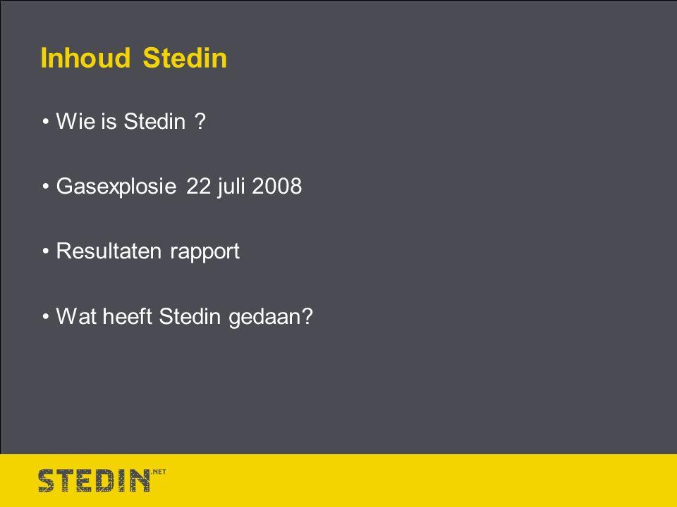 Inhoud Stedin Wie is Stedin Gasexplosie 22 juli 2008 Resultaten rapport Wat heeft Stedin gedaan