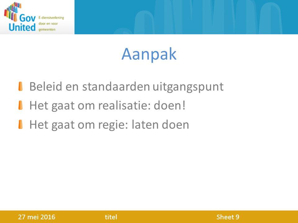Aanpak Beleid en standaarden uitgangspunt Het gaat om realisatie: doen.