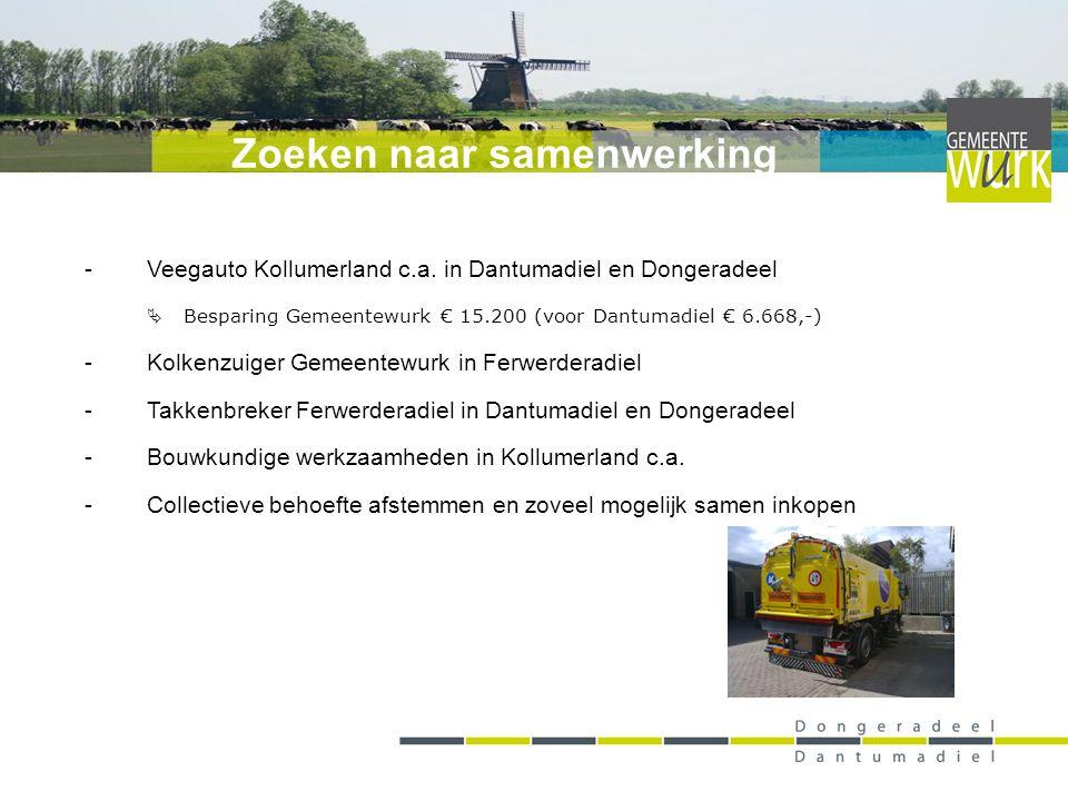 -Veegauto Kollumerland c.a. in Dantumadiel en Dongeradeel  Besparing Gemeentewurk € 15.200 (voor Dantumadiel € 6.668,-) -Kolkenzuiger Gemeentewurk in