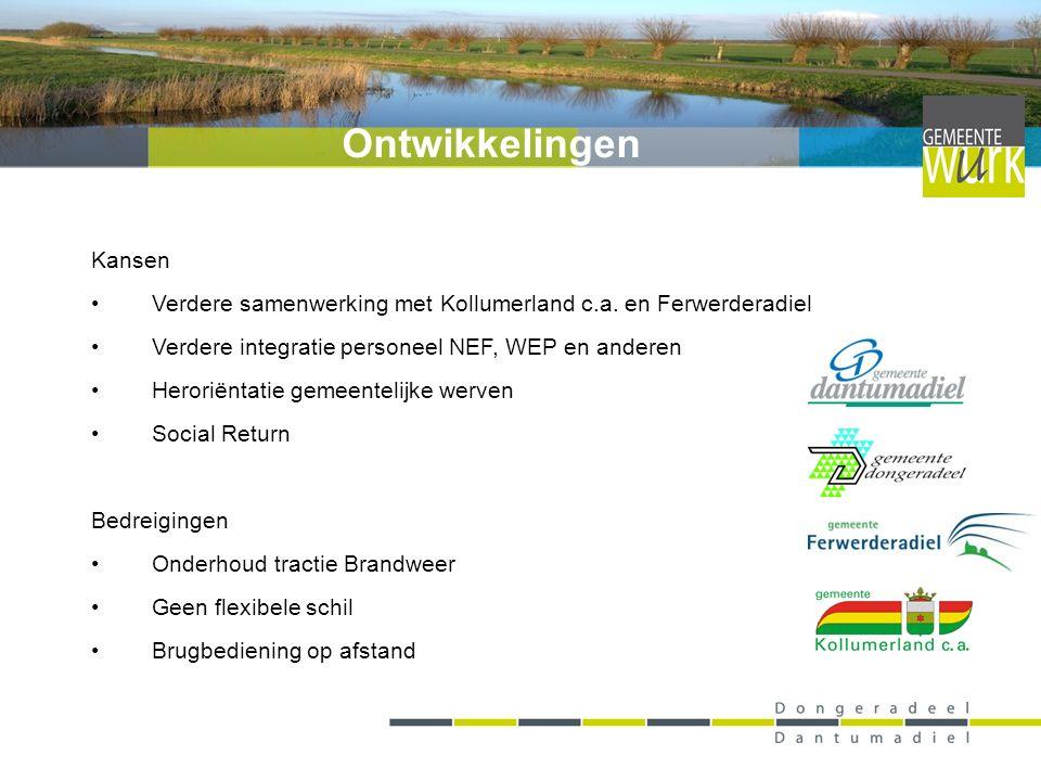 Kansen Verdere samenwerking met Kollumerland c.a. en Ferwerderadiel Verdere integratie personeel NEF, WEP en anderen Heroriëntatie gemeentelijke werve