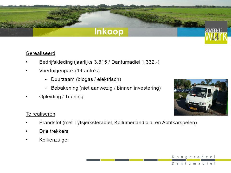 Gerealiseerd Bedrijfskleding (jaarlijks 3.815 / Dantumadiel 1.332,-) Voertuigenpark (14 auto's) - Duurzaam (biogas / elektrisch) - Bebakening (niet aa
