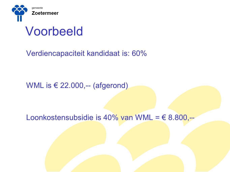 gemeente Zoetermeer Voorbeeld Verdiencapaciteit kandidaat is: 60% WML is € 22.000,-- (afgerond) Loonkostensubsidie is 40% van WML = € 8.800,--