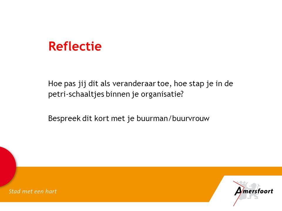 Reflectie Hoe pas jij dit als veranderaar toe, hoe stap je in de petri-schaaltjes binnen je organisatie.