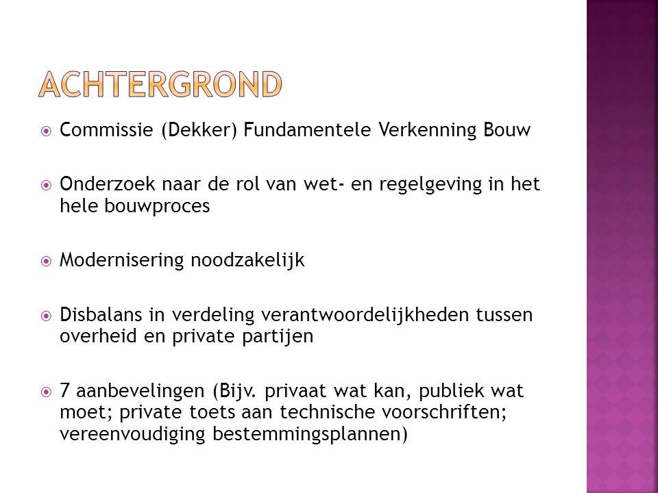  Samenwerking gemeenten en ministeries  Vereenvoudiging van regels en procedures  Aansluiting Delft in 2011  Projecten op gebied van informatievoorziening, jeugdzorg, WMO, parkeren, BOUWEN  Casusgroep Bouwen op vertrouwen (10 gemeenten)  Delft trekker actiepunt