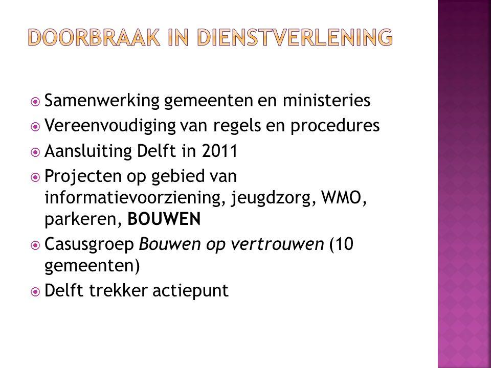  Samenwerking gemeenten en ministeries  Vereenvoudiging van regels en procedures  Aansluiting Delft in 2011  Projecten op gebied van informatievoo