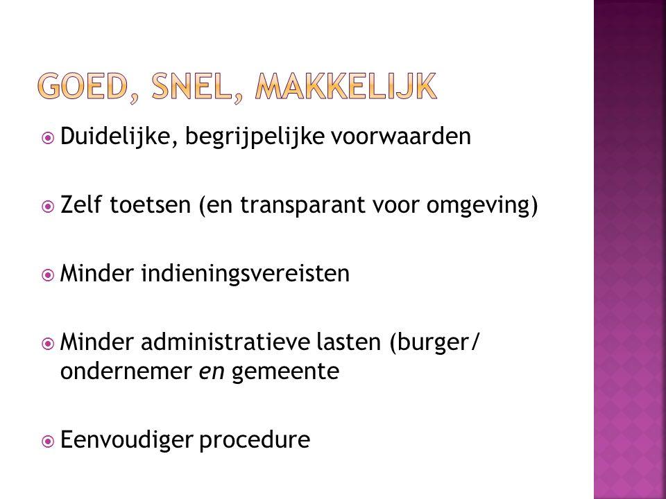  Duidelijke, begrijpelijke voorwaarden  Zelf toetsen (en transparant voor omgeving)  Minder indieningsvereisten  Minder administratieve lasten (burger/ ondernemer en gemeente  Eenvoudiger procedure