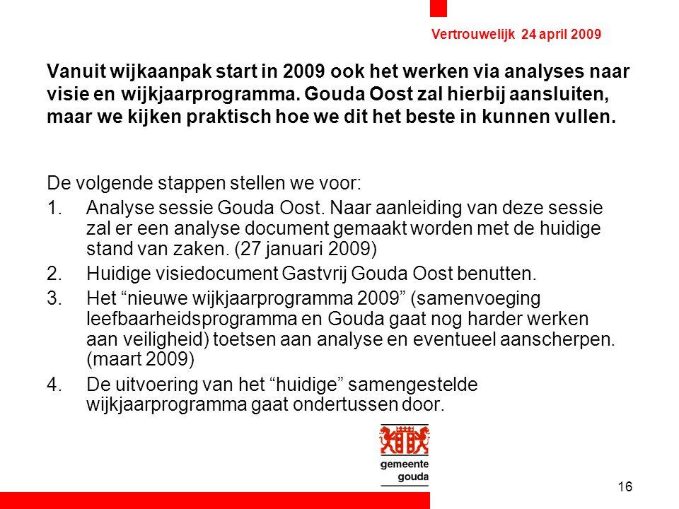 16 Vertrouwelijk 24 april 2009 Vanuit wijkaanpak start in 2009 ook het werken via analyses naar visie en wijkjaarprogramma.