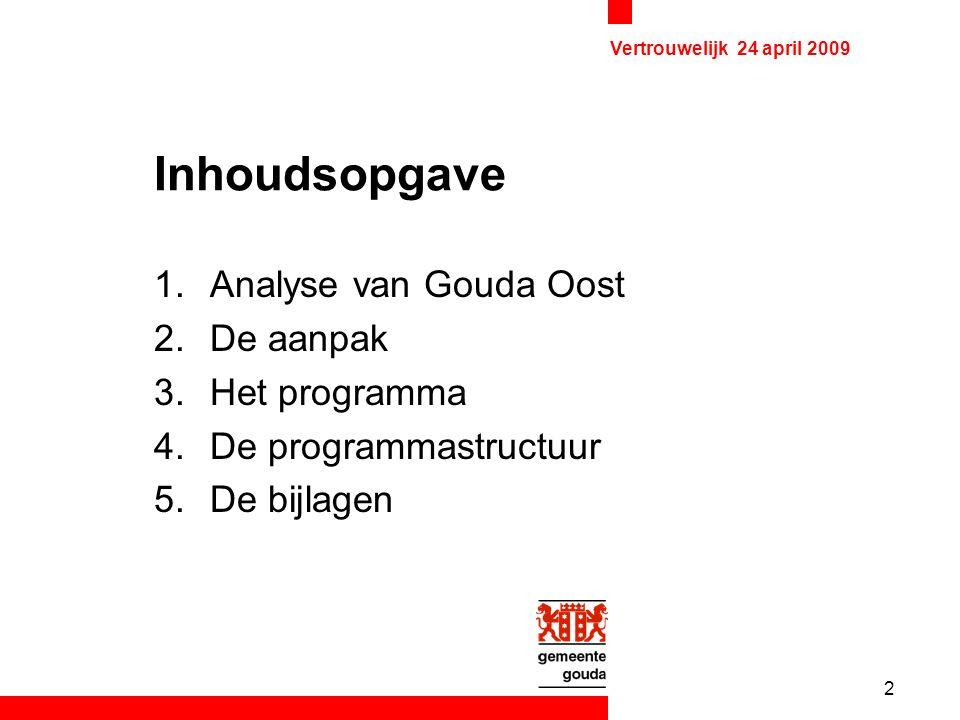 2 Vertrouwelijk 24 april 2009 Inhoudsopgave 1.Analyse van Gouda Oost 2.De aanpak 3.Het programma 4.De programmastructuur 5.De bijlagen