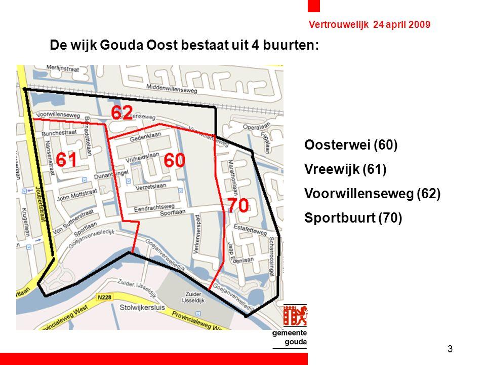 3 Vertrouwelijk 24 april 2009 De wijk Gouda Oost bestaat uit 4 buurten: Oosterwei (60) Vreewijk (61) Voorwillenseweg (62) Sportbuurt (70)