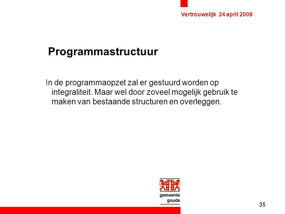35 Vertrouwelijk 24 april 2009 Programmastructuur In de programmaopzet zal er gestuurd worden op integraliteit.