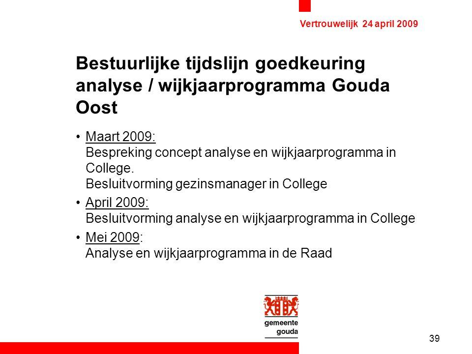 39 Vertrouwelijk 24 april 2009 Bestuurlijke tijdslijn goedkeuring analyse / wijkjaarprogramma Gouda Oost Maart 2009: Bespreking concept analyse en wijkjaarprogramma in College.