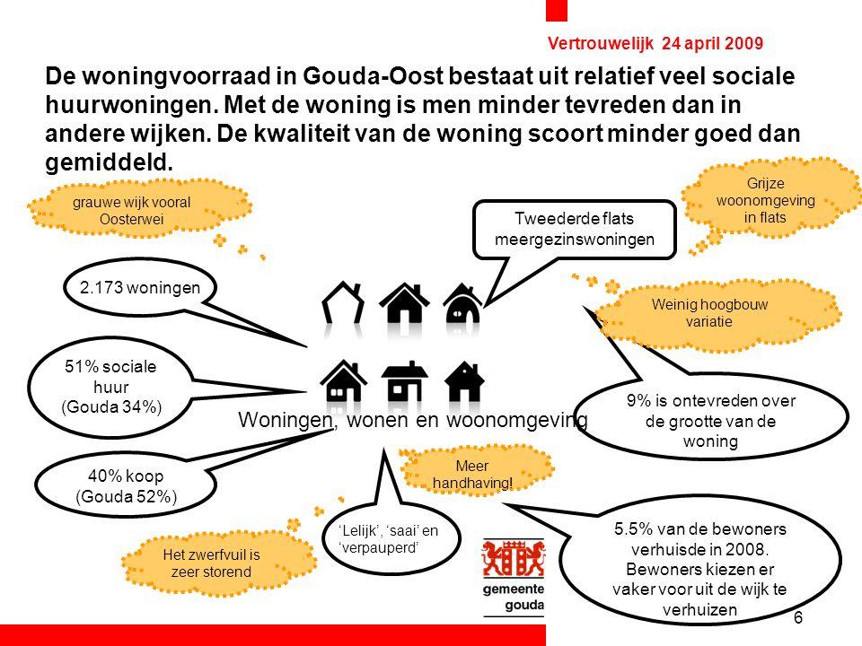 6 Vertrouwelijk 24 april 2009 De woningvoorraad in Gouda-Oost bestaat uit relatief veel sociale huurwoningen.