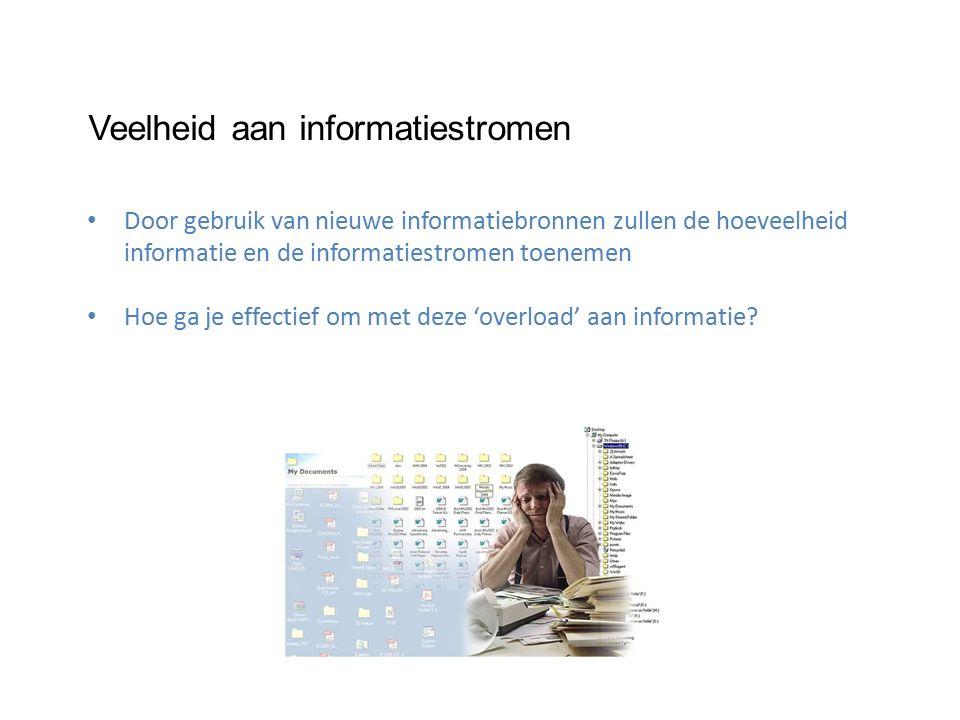 Veelheid aan informatiestromen Door gebruik van nieuwe informatiebronnen zullen de hoeveelheid informatie en de informatiestromen toenemen Hoe ga je effectief om met deze 'overload' aan informatie
