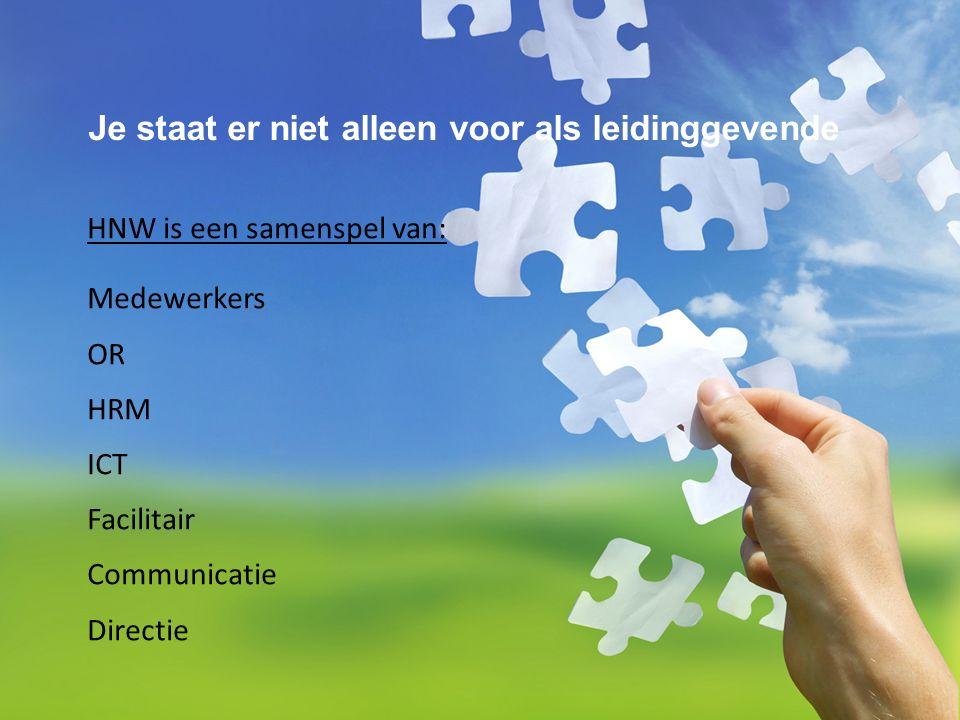 Je staat er niet alleen voor als leidinggevende HNW is een samenspel van: Medewerkers OR HRM ICT Facilitair Communicatie Directie