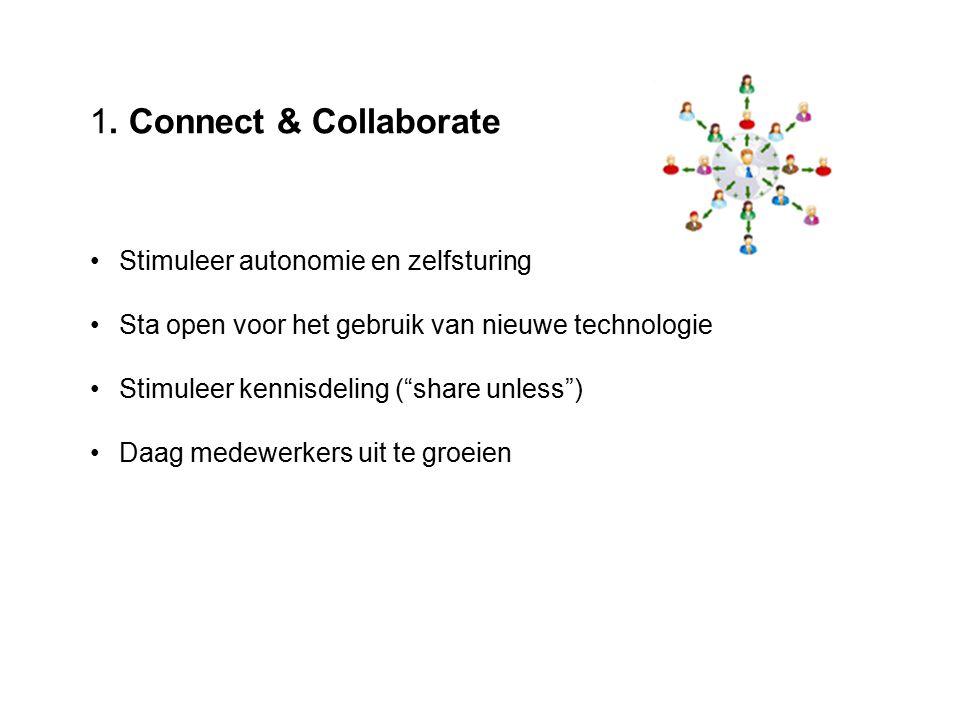 """1. Connect & Collaborate Stimuleer autonomie en zelfsturing Sta open voor het gebruik van nieuwe technologie Stimuleer kennisdeling (""""share unless"""") D"""