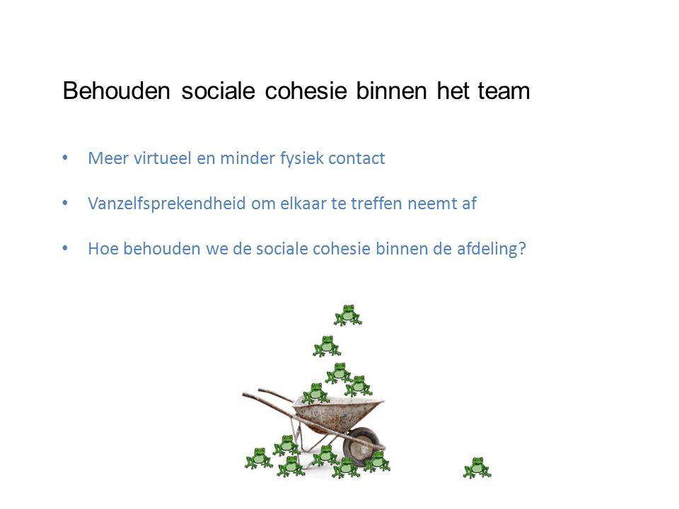 Behouden sociale cohesie binnen het team Meer virtueel en minder fysiek contact Vanzelfsprekendheid om elkaar te treffen neemt af Hoe behouden we de sociale cohesie binnen de afdeling