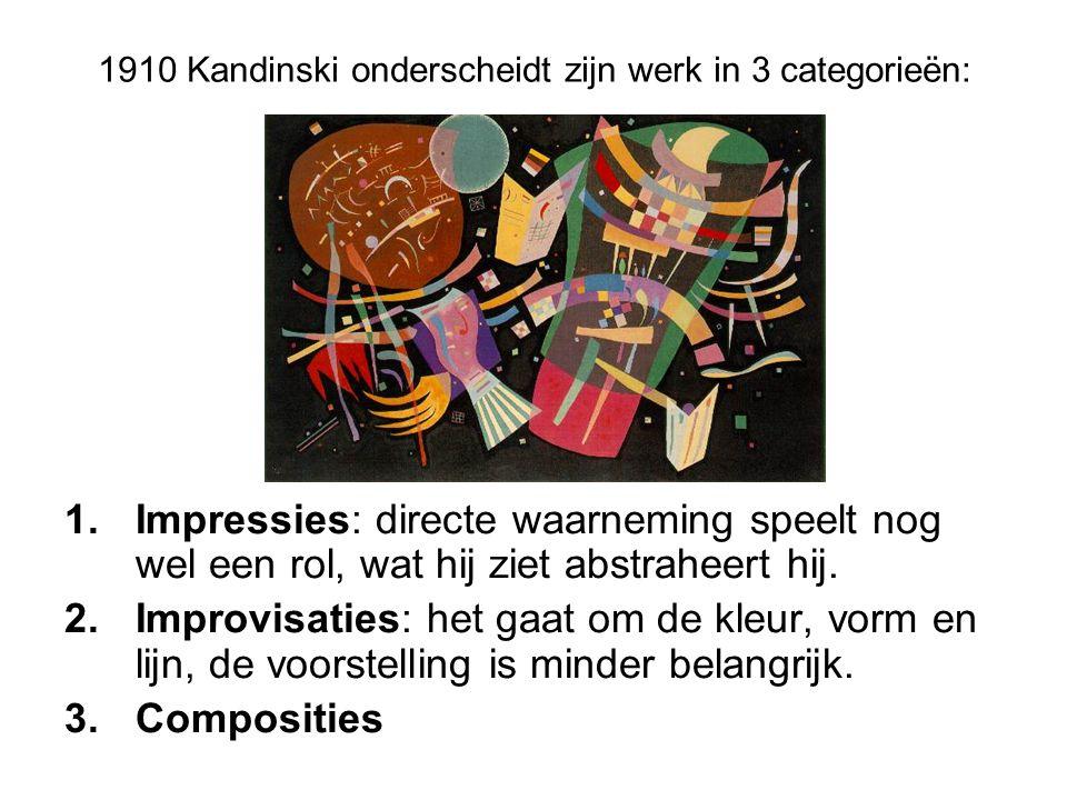 1910 Kandinski onderscheidt zijn werk in 3 categorieën: 1.Impressies: directe waarneming speelt nog wel een rol, wat hij ziet abstraheert hij. 2.Impro