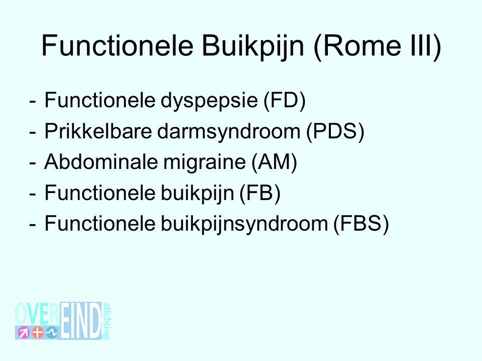 Functionele Buikpijn (Rome III) -Functionele dyspepsie (FD) -Prikkelbare darmsyndroom (PDS) -Abdominale migraine (AM) -Functionele buikpijn (FB) -Functionele buikpijnsyndroom (FBS)