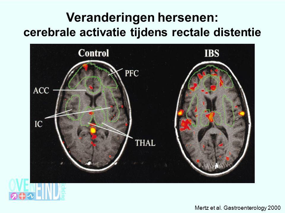 Mertz et al. Gastroenterology 2000 Veranderingen hersenen: cerebrale activatie tijdens rectale distentie