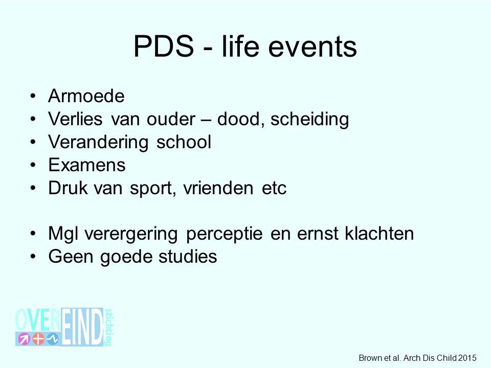 PDS - life events Armoede Verlies van ouder – dood, scheiding Verandering school Examens Druk van sport, vrienden etc Mgl verergering perceptie en ern