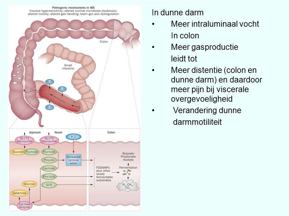 In dunne darm Meer intraluminaal vocht In colon Meer gasproductie leidt tot Meer distentie (colon en dunne darm) en daardoor meer pijn bij viscerale overgevoeligheid Verandering dunne darmmotiliteit