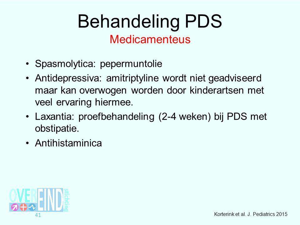 Behandeling PDS Medicamenteus Spasmolytica: pepermuntolie Antidepressiva: amitriptyline wordt niet geadviseerd maar kan overwogen worden door kinderartsen met veel ervaring hiermee.