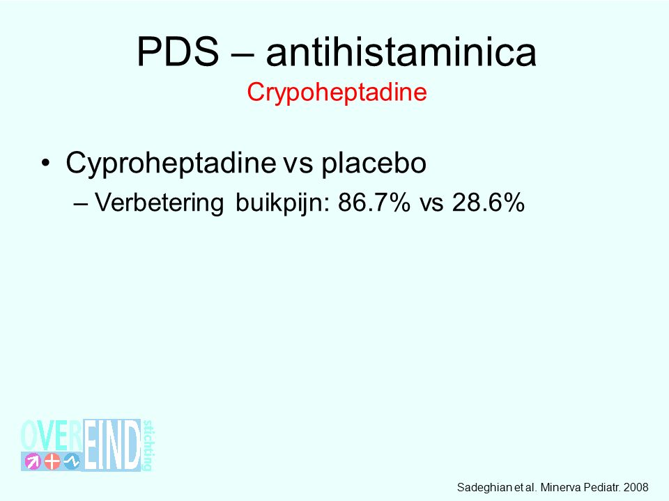 PDS – antihistaminica Crypoheptadine Cyproheptadine vs placebo –Verbetering buikpijn: 86.7% vs 28.6% Sadeghian et al.