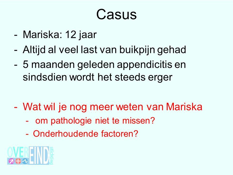 Casus -Mariska: 12 jaar -Altijd al veel last van buikpijn gehad -5 maanden geleden appendicitis en sindsdien wordt het steeds erger -Wat wil je nog meer weten van Mariska - om pathologie niet te missen.