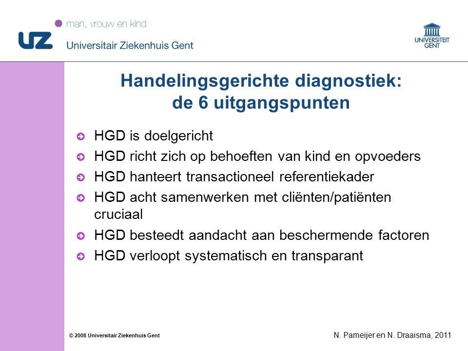 44 © 2008 Universitair Ziekenhuis Gent Handelingsgerichte diagnostiek: de 6 uitgangspunten HGD is doelgericht HGD richt zich op behoeften van kind en opvoeders HGD hanteert transactioneel referentiekader HGD acht samenwerken met cliënten/patiënten cruciaal HGD besteedt aandacht aan beschermende factoren HGD verloopt systematisch en transparant N.