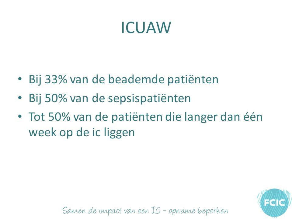 ICUAW Bij 33% van de beademde patiënten Bij 50% van de sepsispatiënten Tot 50% van de patiënten die langer dan één week op de ic liggen