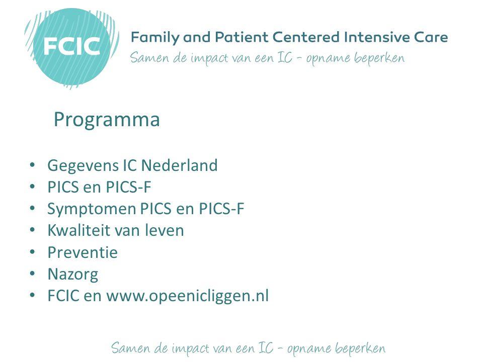 Programma Gegevens IC Nederland PICS en PICS-F Symptomen PICS en PICS-F Kwaliteit van leven Preventie Nazorg FCIC en www.opeenicliggen.nl Uw inbreng