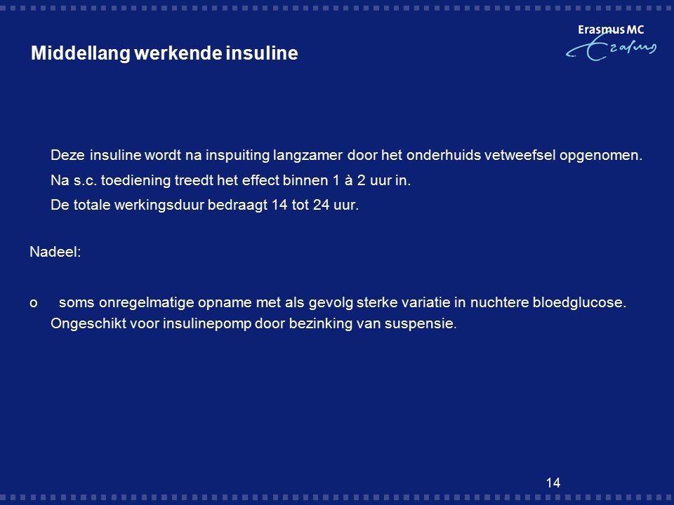 14 Middellang werkende insuline  Deze insuline wordt na inspuiting langzamer door het onderhuids vetweefsel opgenomen.