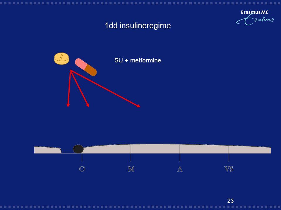 23 1dd insulineregime SU + metformine
