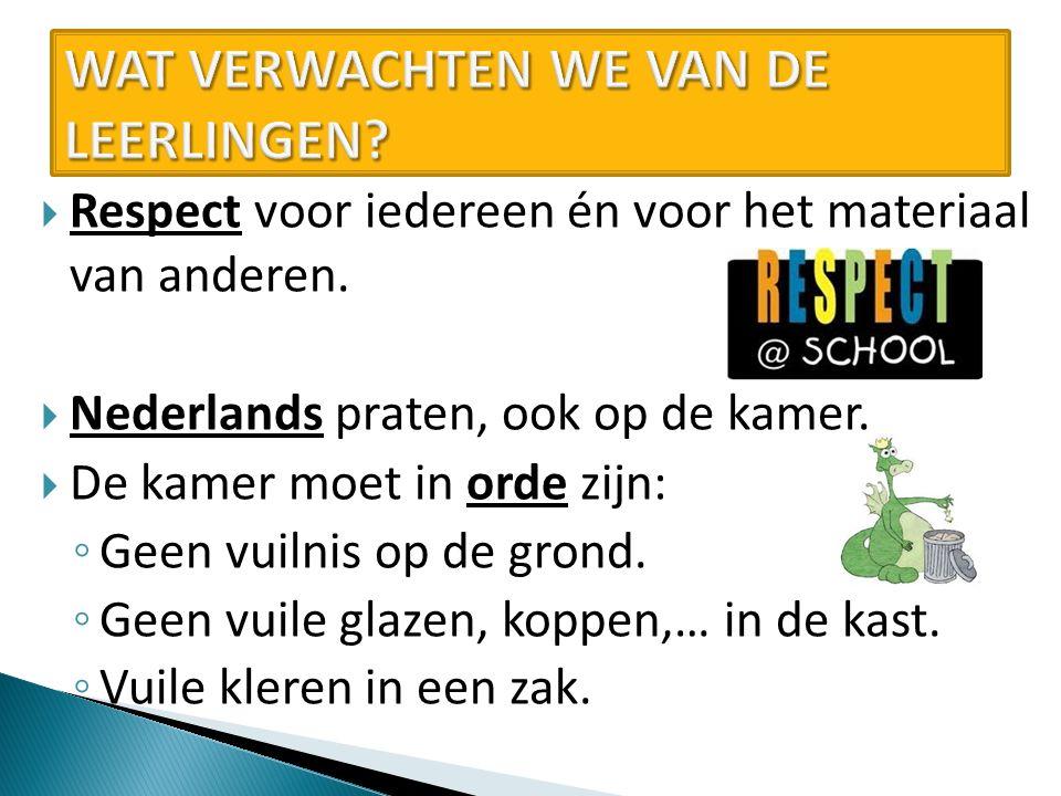  Respect voor iedereen én voor het materiaal van anderen.  Nederlands praten, ook op de kamer.  De kamer moet in orde zijn: ◦ Geen vuilnis op de gr