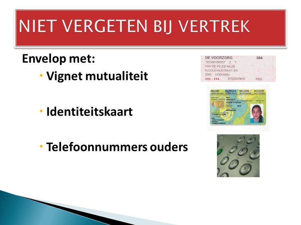 Envelop met:  Vignet mutualiteit  Identiteitskaart  Telefoonnummers ouders