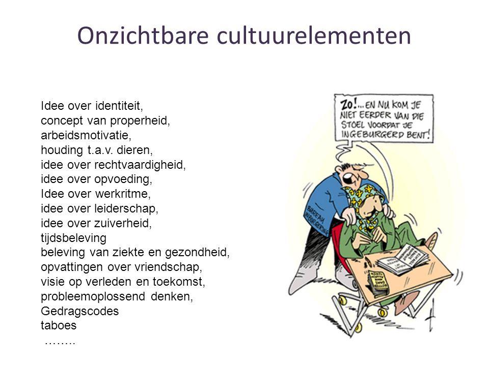Onzichtbare cultuurelementen Idee over identiteit, concept van properheid, arbeidsmotivatie, houding t.a.v.