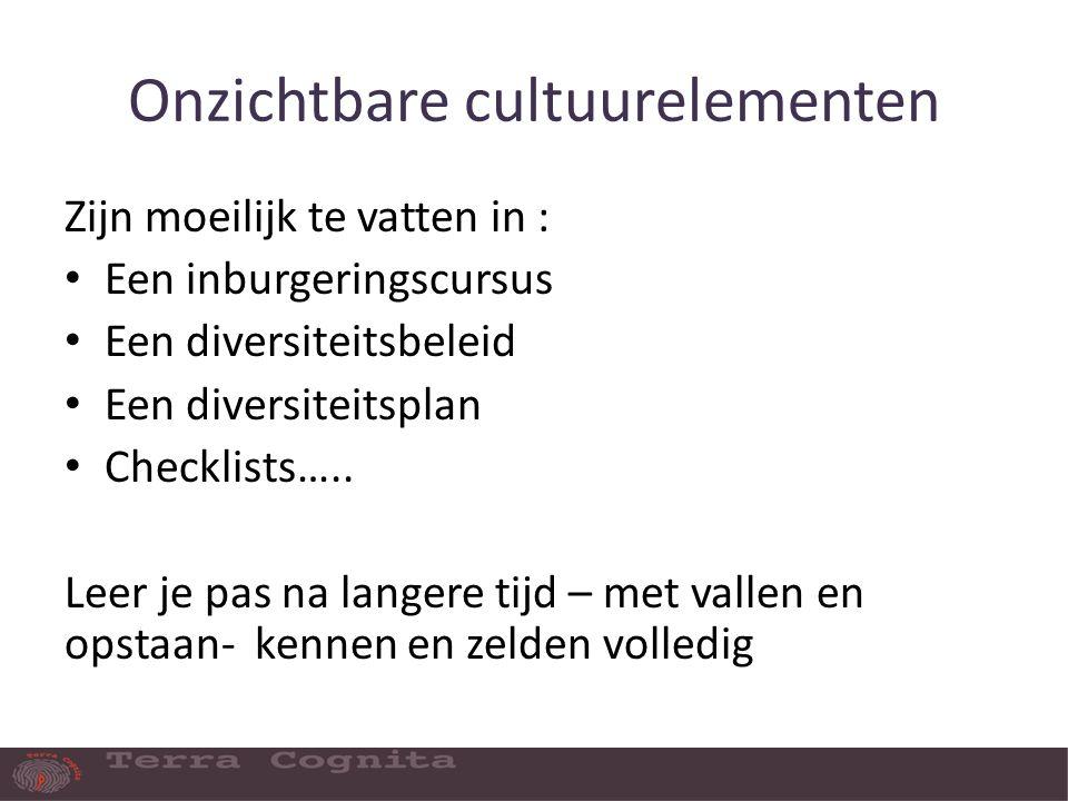 Onzichtbare cultuurelementen Zijn moeilijk te vatten in : Een inburgeringscursus Een diversiteitsbeleid Een diversiteitsplan Checklists…..