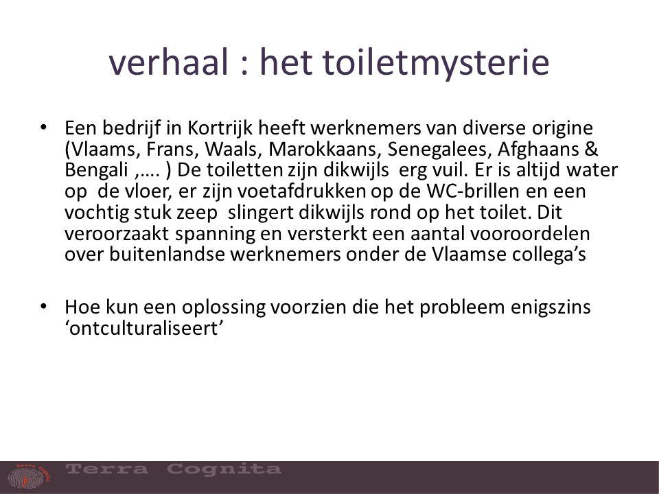 verhaal : het toiletmysterie Een bedrijf in Kortrijk heeft werknemers van diverse origine (Vlaams, Frans, Waals, Marokkaans, Senegalees, Afghaans & Bengali,….